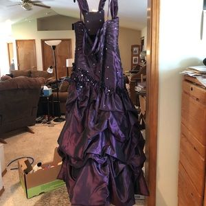 Full length eggplant ball gown
